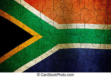 Grunge South Africa flag - South Africa flag on a cracked...