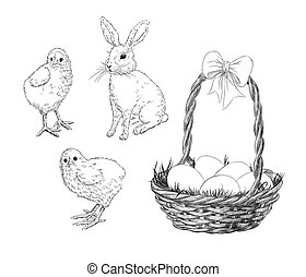 Chickens, rabbit and basket