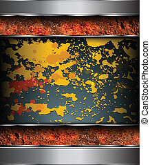 Background rusted metal with paints remains and splashes,...
