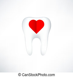 Tooth  On White Background. Vector Illustration