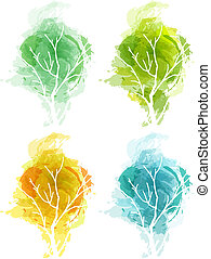 Four seasons - Vector drawn abstract tree in four seasons....