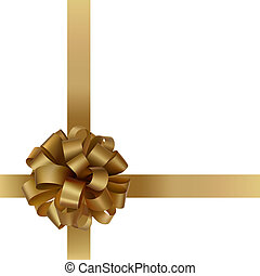 Golden bow - Gift gold bow with a ribbon on white background