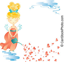 Love fairy with water can Vector illustration