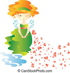 Love fairy with magic wand Vector illustration