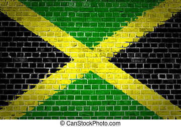Brick Wall Jamaica - An image of the Jamaica flag painted on...