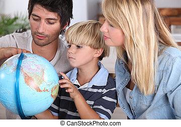 family, reading, globe