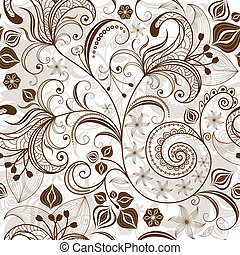 Repeating white-brown floral pattern - Seamless white and...