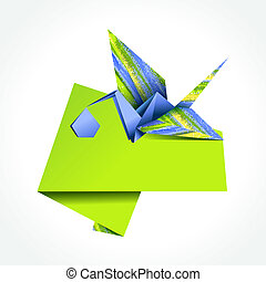 Origami stork delivering boy