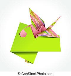 Origami stork delivering girl