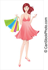 Shopping girl - Shopping girl with mobile phone