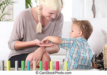 madre, bambino, gioco