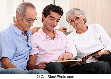 grandparents spending time with their grandson