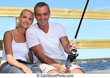 pareja, mar, pesca