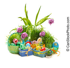 easter eggs - decorated easter eggs with tulips and green...