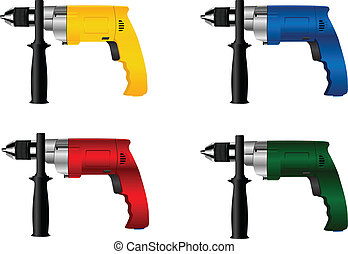 drill - The vector image of manual electric tool drill