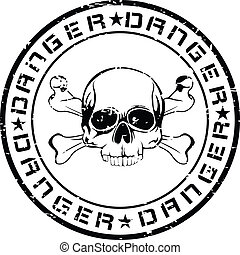 stamp - The vector image of print of an old seal with skull