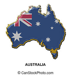 Australia metal pin badge - map shaped flag of Australia in...