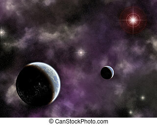 twin planets with nebula