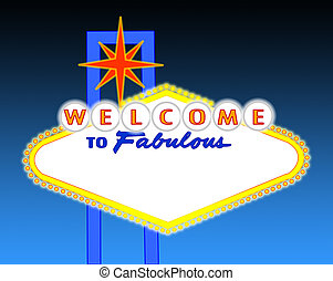 blank night time Las Vegas sign - illustration of the neon...