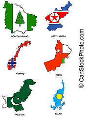 world flag map stylized sketches 24