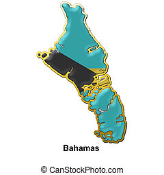 Bahamas metal pin badge - map shaped flag of Bahamas in the...