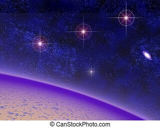Orions belt - space veiw of a strange alien planet