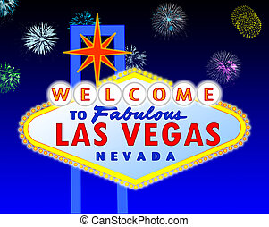 Las Vegas sign at night - illustration of the neon...
