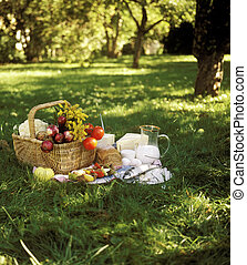Picnic - Bread, Fish and vegetables in a picnic basket