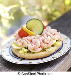 Prawn Sandwich - Prawn sandwich on a plate outdoor