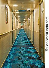 Corridor - Cruise ship corridor recedes into the distance