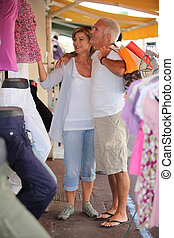 Mature couple in a clothing store