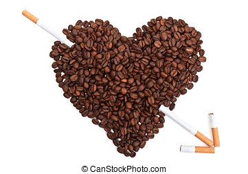 Coffee beans in the shape of the heart with cigarettes -...