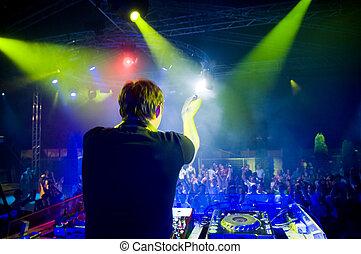 dj, concierto, confuso, movimiento