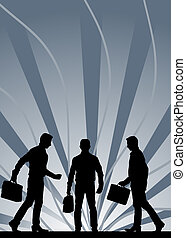 black male silhouettes carrying briefcase against gray...