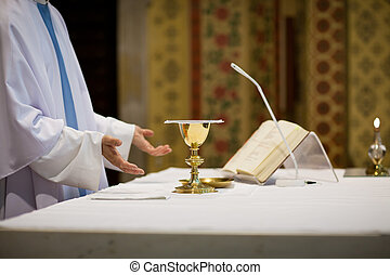 padre, durante, casório, ceremony/nuptial, massa