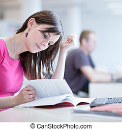 female student in the library - in the library - pretty...