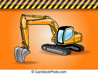 digger - excavator on the orange background
