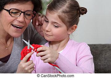 tejer, hija, ella, Cómo, madre, enseñanza