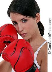 resistente, mulher, dela, boxe, luvas