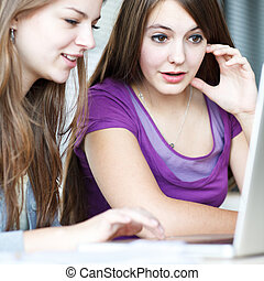 Two female college students working on a laptop computer