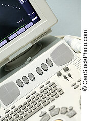keyboard and monitor of modern medical ultrasound device as...