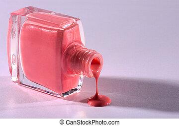 nail polish - pink nail polish flowing out
