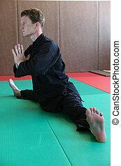 homem, prática, marcial, artes, move-se