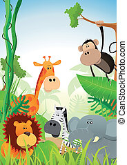 Wild Animals Background - Illustration of cute cartoon wild...