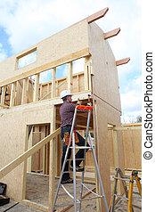 construcción, trabajador, edificio, casa