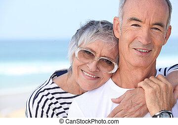 elderly couple enjoying holiday