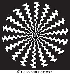 Zigzag Spiral Design Pattern - White on black zigzag spiral...