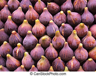 Fresh figs display - Display of fresh figs at a fruit market...