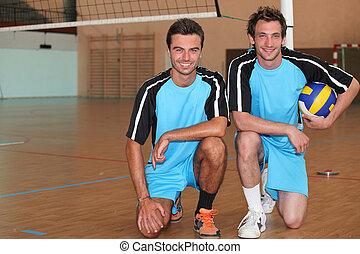 voleibol, jugadores, Arrodillar