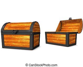 Treasure box - 3d rendering, conceptual image, vintage look...